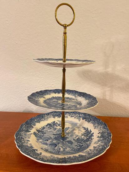 3 Tier Porcelain Dessert Stand - As Pictured