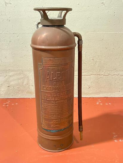 """Vintage Copper Fire Exstinguisher Elmira, NY. This is 25"""" Tall - As Pictured"""