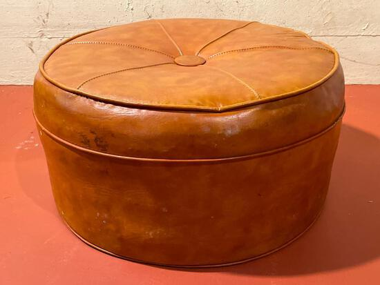 """Faux Leather Footstool. This is 13"""" T x 23"""" in Diameter - As Pictured"""