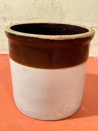 """Pottery Crock. This has Some Cracks. It is 9"""" T x 10"""" in Diameter - As Pictured"""