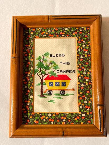 """5"""" x 7"""" Framed Cross Stich """"Bless This Camper"""" Sign - As Pictured"""