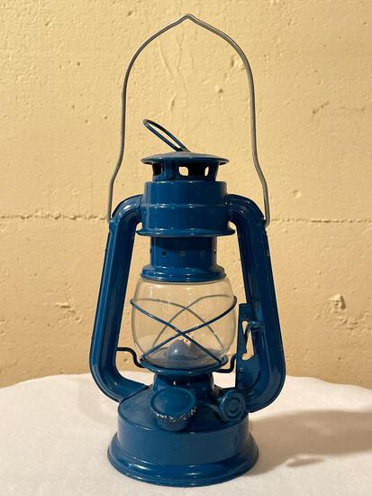 """9"""" Blue Metal Oil Lamp - As Pictured"""