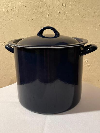 """10"""" Blue Metal Stock Pot. - As Pictured"""