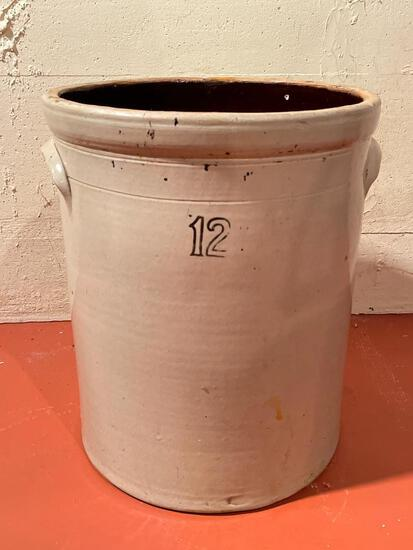 12 Gallon Pottery Crock. Has a Few Cracks in it. This is Very Heavy. - As Pictured