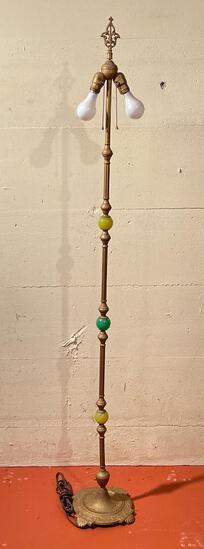 "67"" Antique Dual Bulb Floor Lamp. - As Pictured"