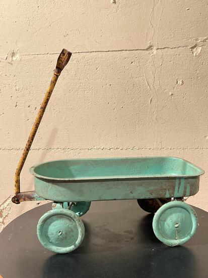 """Antique Little toy Blue Metal Wagon. Has Rust Condition Issues. This is 6.5"""" x 15"""" - As Pictured"""