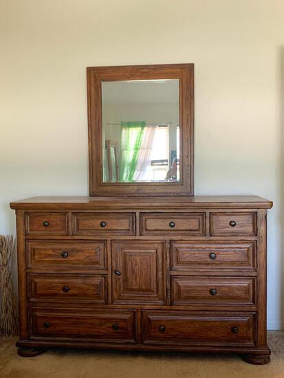 """Very Heavy Solid Wood Eddie Bauer Dresser by Lane. This is 42"""" T x 68"""" W x 20"""" D - As Pictured"""