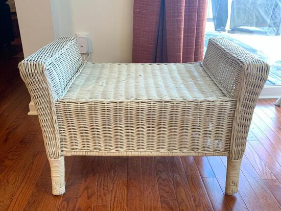 """Outdoor Wicker Footstool. This is 19"""" T x 29"""" W x 17"""" D. In Great Shape - As Pictured"""