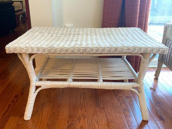 """Outdoor Wicker Coffee Table. This is 18"""" T x 30"""" W x 18"""" D. Also in Great Shape - As Pictured"""