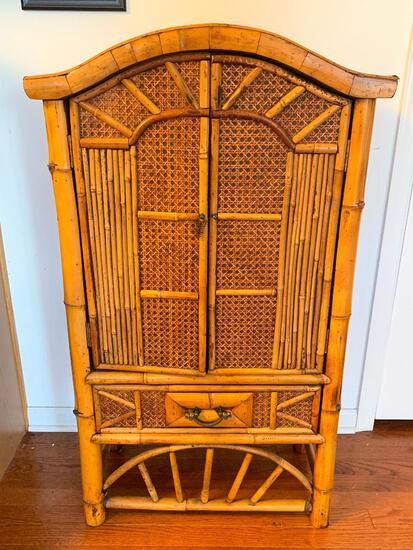 """Unique Bombay Style Bamboo & Wicker Cabinet. This is 43"""" T x 24"""" W x 12"""" D - As Pictured"""