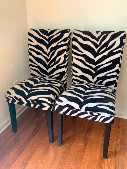 """Pair of Zebra Print Accent Chairs. They are 39"""" T x 17"""" W - As Pictured"""