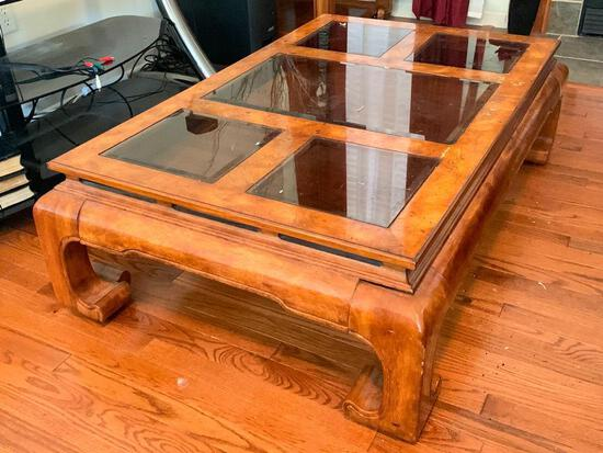 """Wood Glass Top Coffee Table. This is 16"""" T x 49"""" W x 30"""" D - As Pictured"""