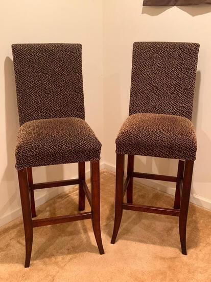 """Very Nice Pair of Leopard Print Bar Stools. They 49"""" T x 18"""" W - As Pictured"""