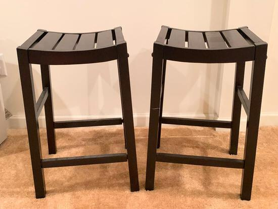 """Pair of Black Wood Bar Stools. They are 24"""" T x 14"""" W - As Pictured"""