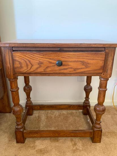"""Wood Side Table w/Pull Out Writing Desk. This is 31"""" T x 28"""" W x 17"""" D - As Pictured"""
