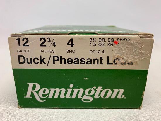 "Remington Duck/Pheasant Ammo 12 Gauge 2 3/4"" 4 Shot. Box of 25 - As Pictured"