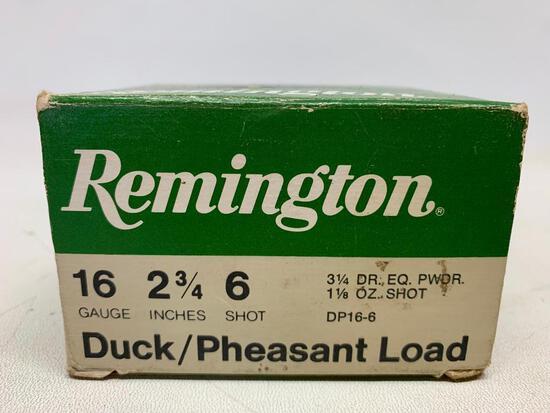 "Remington Duck/Pheasant Ammo 16 Gauge 2 3/4"" 6 Shot. Box of 25 - As Pictured"