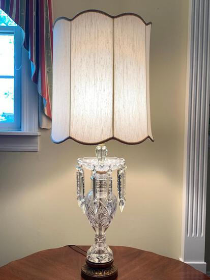 """41"""" Glass Lamp w/Prisms & Shade - As Pictured"""