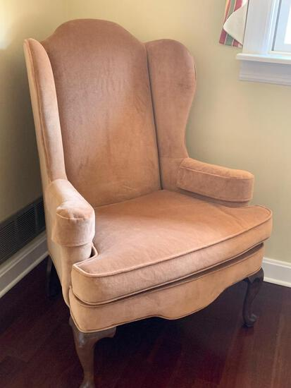 """Tan Wingback Chair by Ethan Allen. This is 44"""" Tall - As Pictured"""