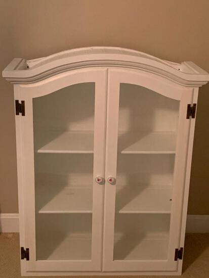 """White Display Cabinet. This is 41"""" T x 32"""" W x 12"""" D - As Pictured"""