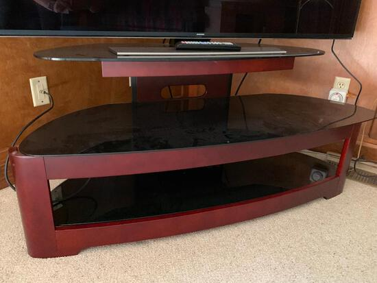 """2-Tier Wood and Glass TV Stand. This is 21"""" T x 51"""" W x 18"""" D - As Pictured"""