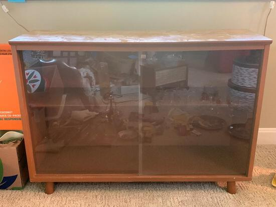 """Vintage Wood Cabinet w/Double Glass Doors. This is 25"""" T x 36"""" W x 12"""" D - As Pictured"""
