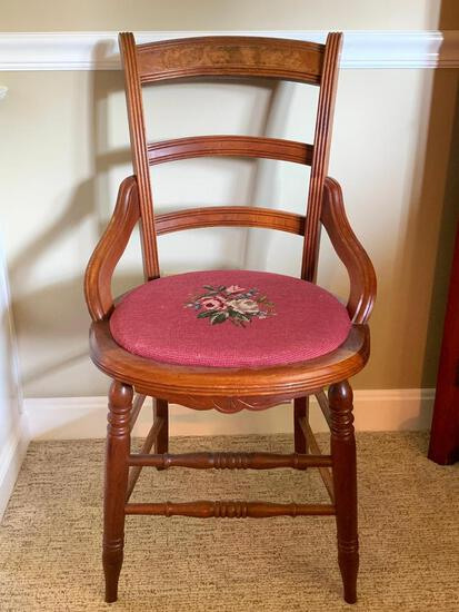"""Vintage Wood Chair w/Needlepoint Seat Cover. This is 34"""" Tall - As Pictured"""