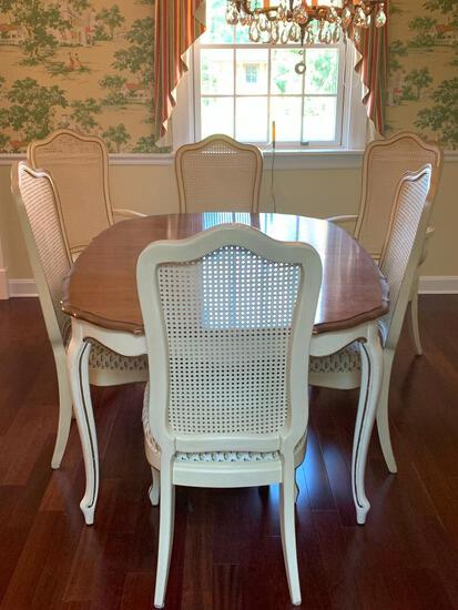 """French Provincial Dining Room Table w/6 Cane Back Chairs by Thomasville. The Table is 29.5"""" T x 59"""""""