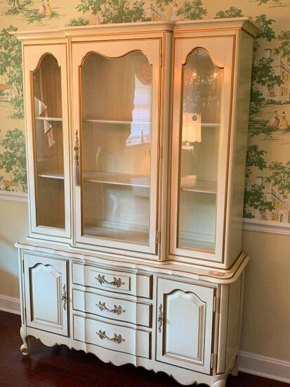 """French Provincial China Hutch by Thomasville. This is 72"""" T x 50"""" W x 16"""" D & Matching to Dining Set"""