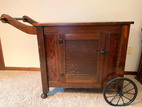 """Antique Rolling Wood Bar Cart. This is 30"""" T x 42"""" W x 17"""" D - As Pictured"""
