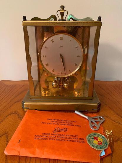 "Vintage Schatz Brass Clock w/Key & Spare Suspension Wire. This is 8"" T x 6.5"" W x 5"" D - As Pictured"