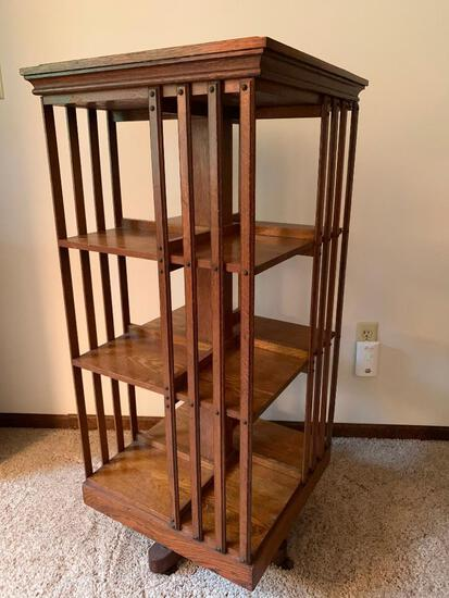 """Antique Swivel Bookshelf. This is 45"""" T x 20"""" W x 20"""" D - As Pictured"""