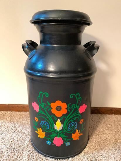 """Antique Hand Painted Milk Jug w/Lid. This is 26"""" T x 12"""" W - As Pictured"""