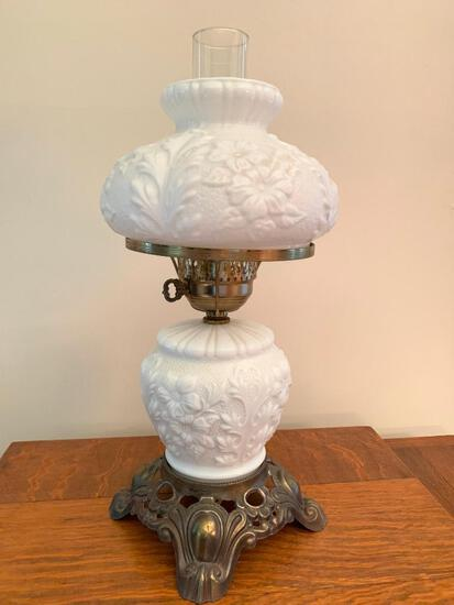 """19"""" Ornate Milk Glass & Brass Electric Oil Lamp. - As Pictured"""