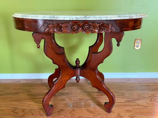 """Antique Wood Carved Base w/Marble Top Table. This is 28"""" T x 34"""" W x 22"""" D - As Pictured"""