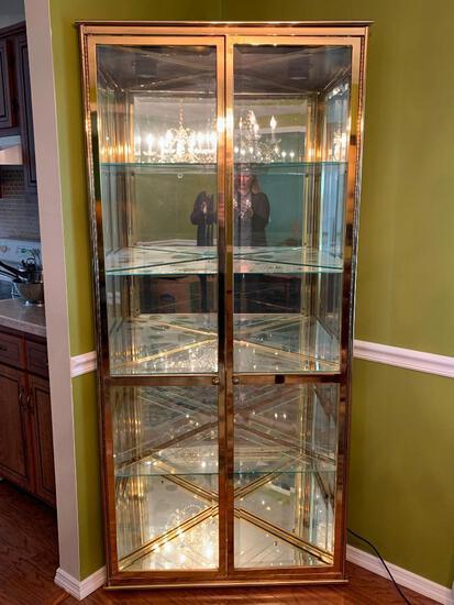 "Glass & Brass Corner Display Case. This is 76"" T x 34"" W"