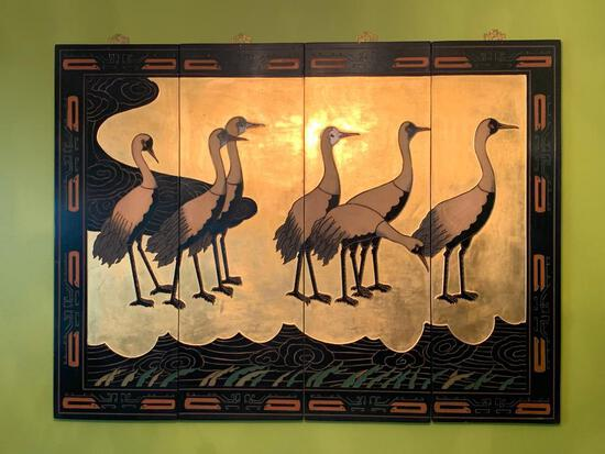 """4 Panel Oriental Style Wall Decor. The Display Size is 48"""" x 36"""" - As Pictured"""