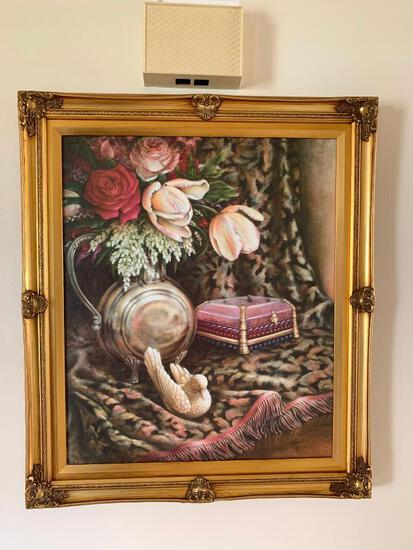 """29"""" X 25"""" Framed Oil on Canvas Floral Print by Cooper - As Pictured"""