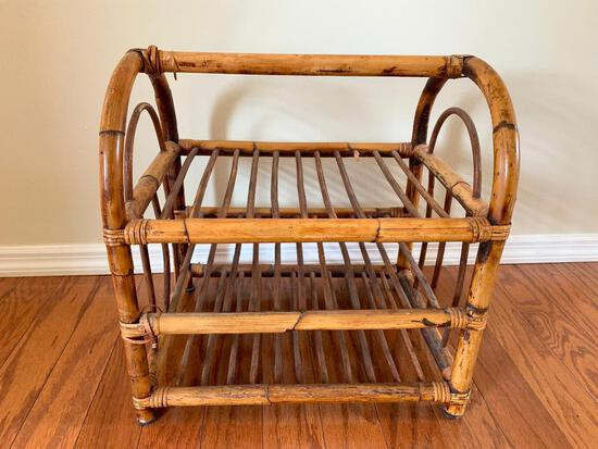 """18"""" x 17"""" Rattan Magazine Rack - As Pictured"""