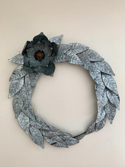 """Floral Metal Wreath Wall Decor. This is 26"""" in Diameter - As Pictured"""