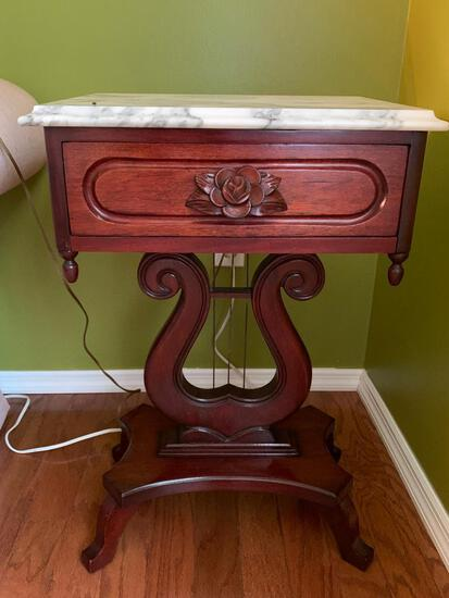 """Antique Wood Carved Base w/Marble Top & Drawer Side Table. This is 28"""" T x 18"""" W x 14"""" D"""