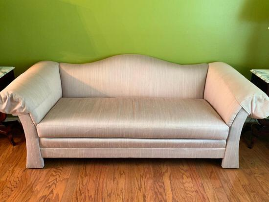 """Lt Pink Sofa by Stegmans. This is 32"""" T x 75"""" W. Gently Used - As Pictured"""