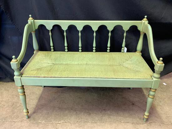 """Very Nice Wood Bench w/Wicker Bottom. This is 29"""" T x 38"""" W x 17"""" D - As Pictured"""