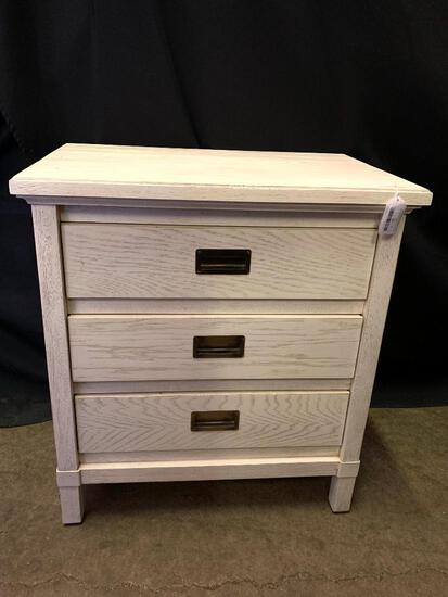 """White Washed Nightstand w/3 Drawers by Stanley. This is 30"""" T x 28"""" W x 18"""" D"""