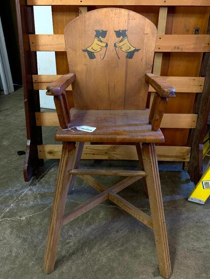 """Vintage Childs High Chair w/Scottie Dog Detail. This is 38"""" Tall"""
