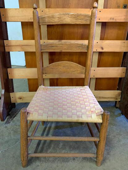 """Wood Chair w/Woven Cloth Bottom. This is 35"""" T x 17"""" W x 14"""" D - As Pictured"""