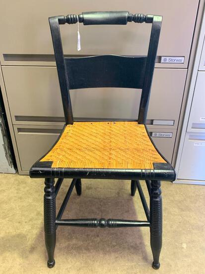 """Antique Wood Cane Bottom Chair. This is 33"""" T x 17"""" W x 15"""" D - As Pictured"""