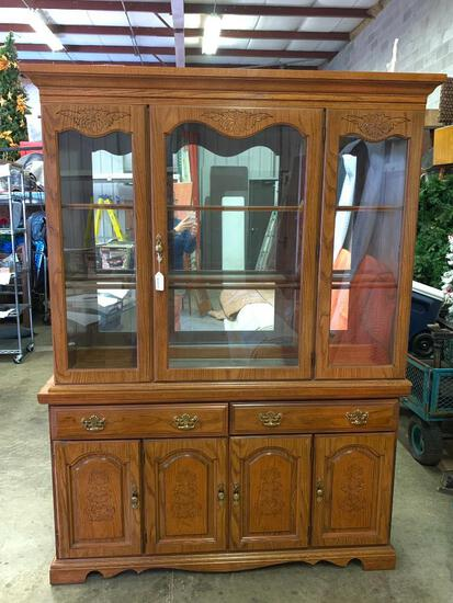 """China Cabinet w/Light by Broyhill. This is 79"""" T x 57"""" W x 15"""" D"""