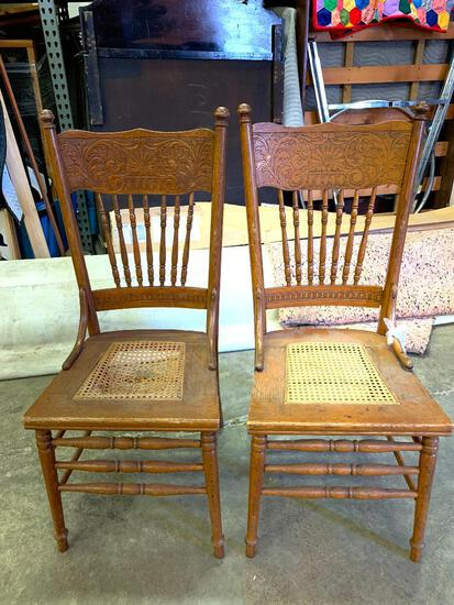 """Pair of Cane Bottom Dining Chairs. They are 41"""" Tall - As Pictured"""