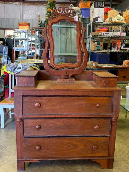 """70"""" x 43"""" x 21"""" Antique Dresser w/Mirror. This is in 2 Pieces - As Pictured"""